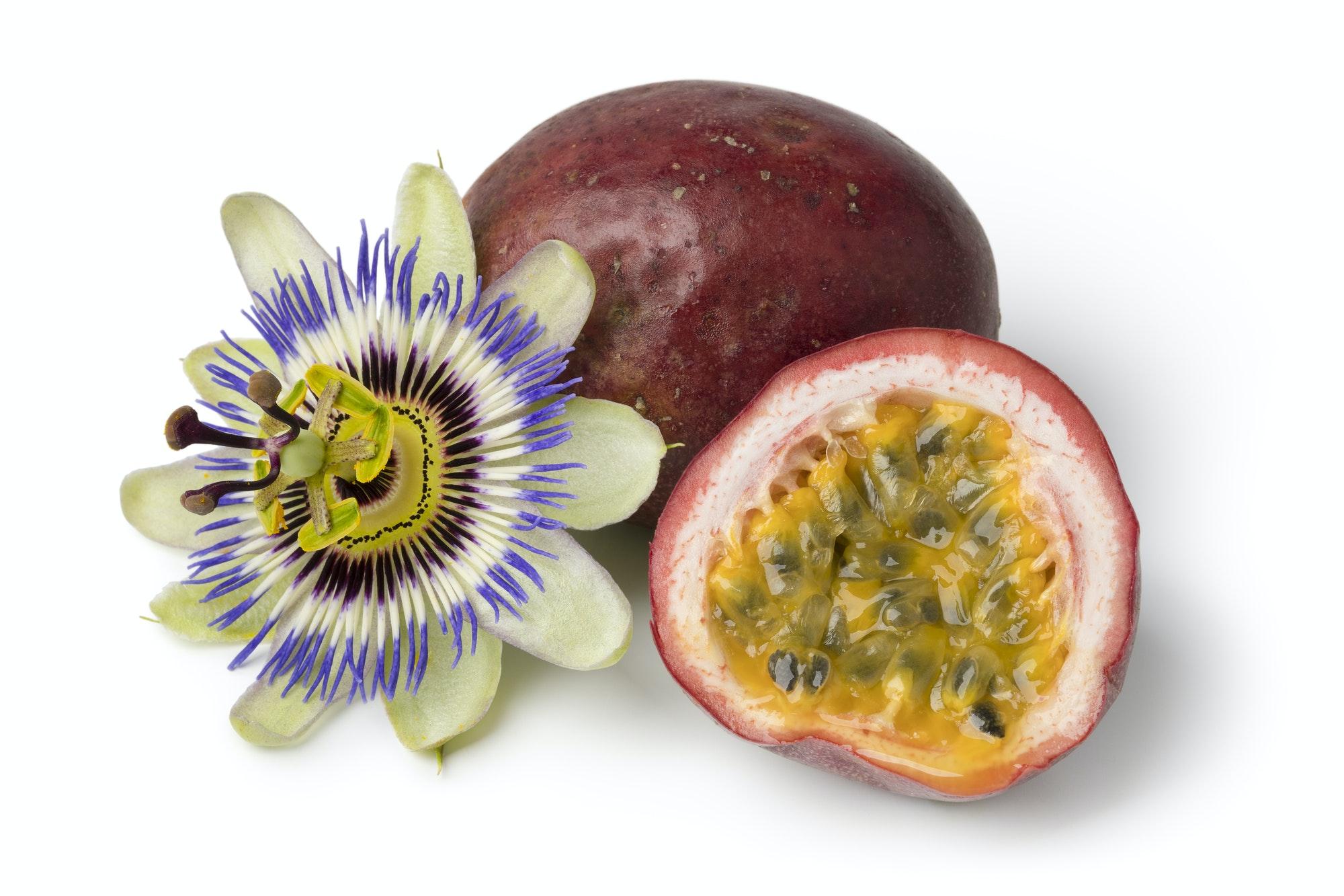 Passiflora edulis fruit and flower
